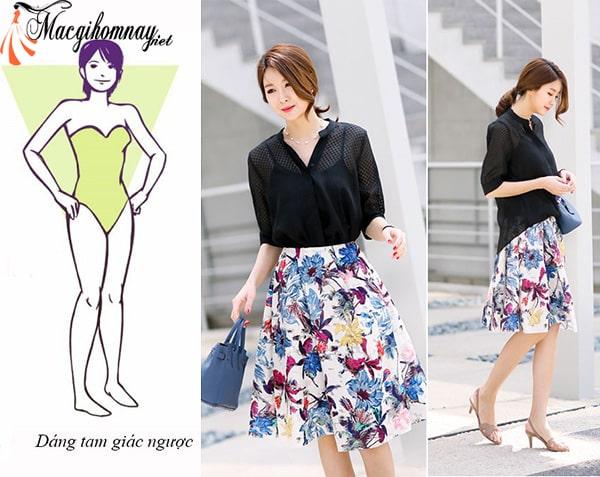 Trang phục phù hợp cho phụ nữ tuổi 25 dáng tam giác ngược