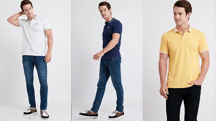 Áo polo kết hợp quần jeans