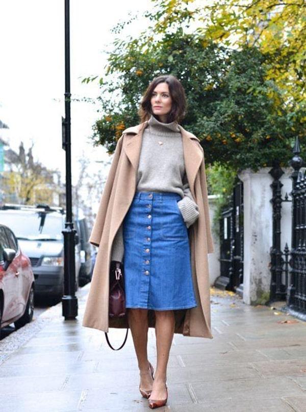 ết hợp chân váy jean với áo khoác