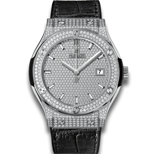 Đồng hồ Hublot replica Classic Fusion Titanium full pave